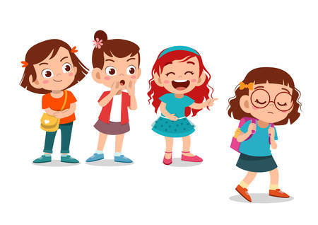 kids sad cute bullying at school vector illustration