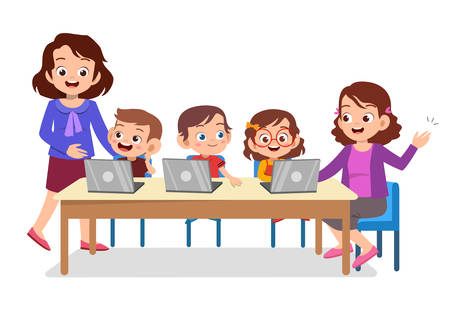 cute happy kids study internet laptop vector