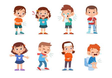 kids cute flat sick unhealthy vector illustration Vector Illustration