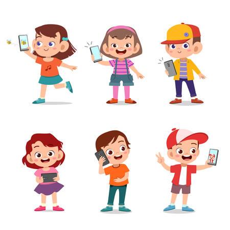 kinderen schattige gelukkige kinderen met smartphone vector Vector Illustratie