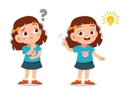 kids thinking idea question school vector illustration