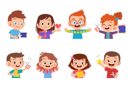 happy cute kids paper craft art vector illustation  イラスト・ベクター素材