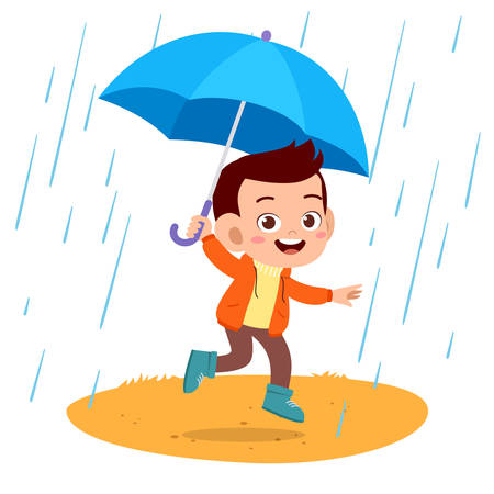happy cute play kids autumn vector illustration
