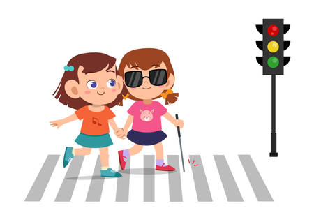 kind mädchen hilft blinden freunden über die straße