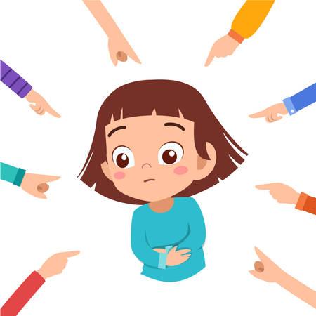 sad cute bullying at school vector illustration Stock Illustratie