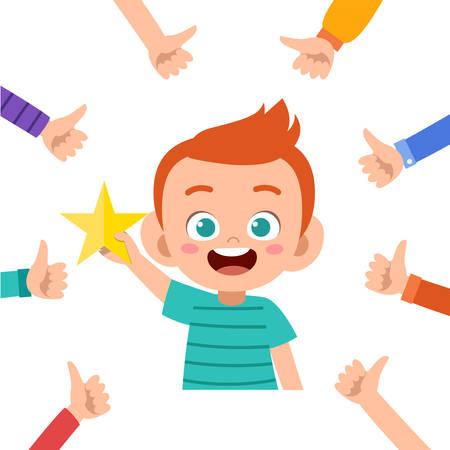 glücklicher süßer Kinderjunge erhält Lobvektorillustration