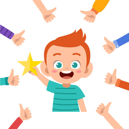 Happy kid boy get louange vector illustration
