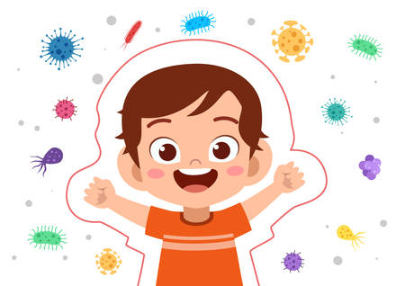 happy kids immune protection system vector illustration