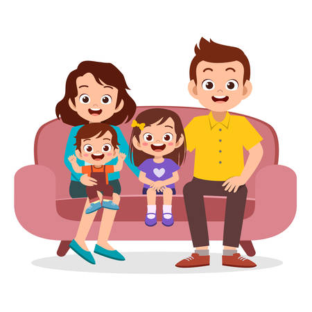Happy Smiling Senior Couple Gathering Together with their Adult Children, Grandchildren and Great-Grandchildren in Living Room at Home. Four Generation of United Family Cartoon Vector Illustration Illustration