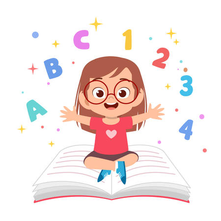 cute kids reading book education concept illustration Ilustração
