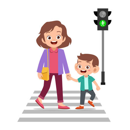 Sad little boy going to school holding a game controller. Mother and son crossing the pedestrian, Vector illustration. Stock Illustratie