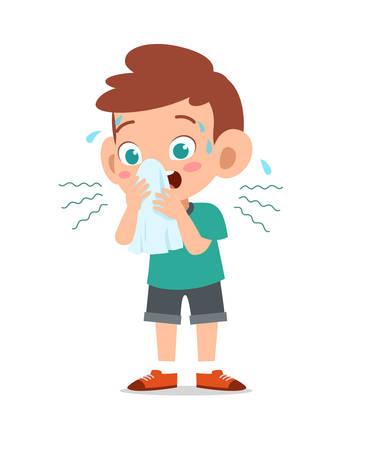 happy cute kid ill hurt vector illustration