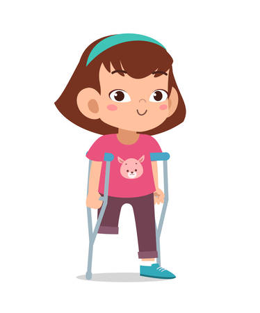 heureux, mignon, gosse, handicapé, handicap, vecteur, illustration Vecteurs