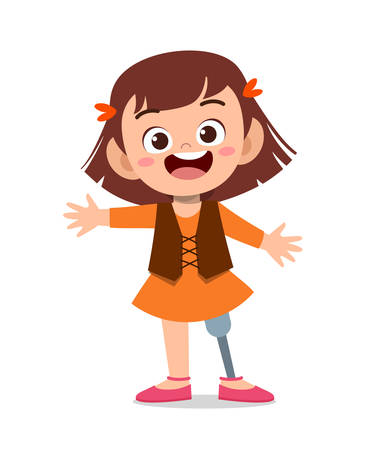 happy cute kid disabled handicap vector illustration
