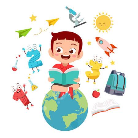 happy kid read book study knowledge