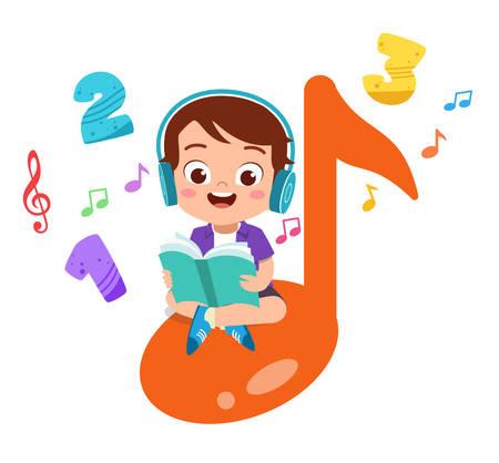 happy kid read book study knowledge Vecteurs