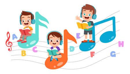 glückliches kind lese buch lernen wissen Vektorgrafik