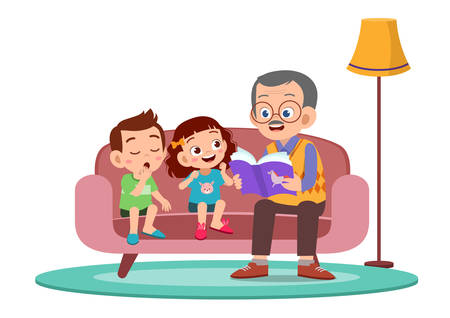 happy kids hear story from grandfather vector