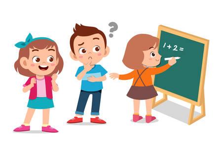 happy kids learning math illustration