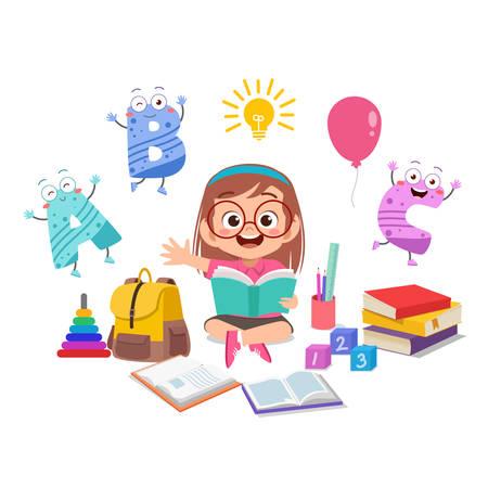 happy kid girl study read book illustration