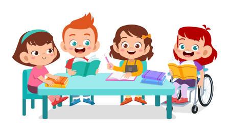 les enfants handicapés discutent d'étudier ensemble