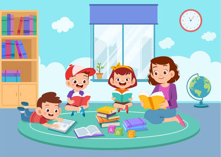 happy kids read book study together