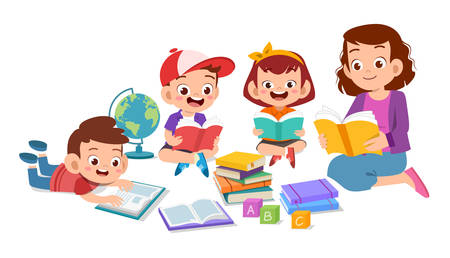 happy kids read book study together with teacher