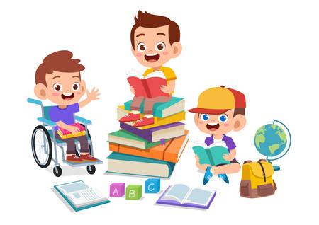 happy kids read book study together Zdjęcie Seryjne - 138513159