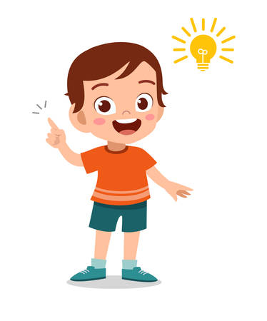 happy cute kid idea school vector illustration