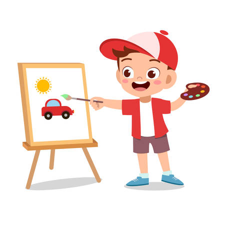 happy cute kid boy with hobby vector illustration