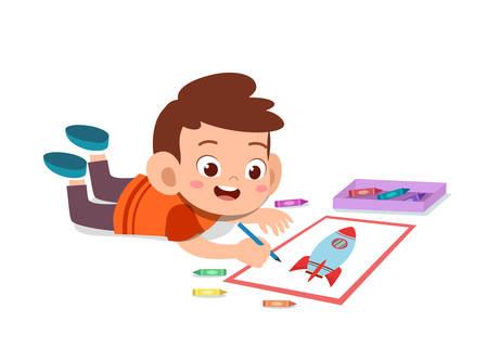 happy cute kid boy with hobby vector illustration
