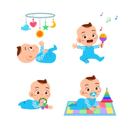 happy cute baby vector illustration expression set Illustration