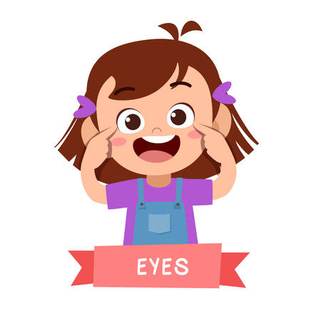 kid cute happy pointing body part vector