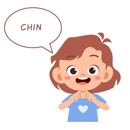 niño lindo feliz señalando parte del cuerpo vector Ilustración de vector