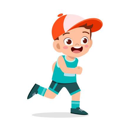 happy kid boy train run marathon jogging Vetores