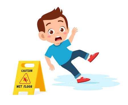 cute kid boy trip on wet floor