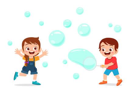 cute kid boy and girl blow bubble Vektorové ilustrace