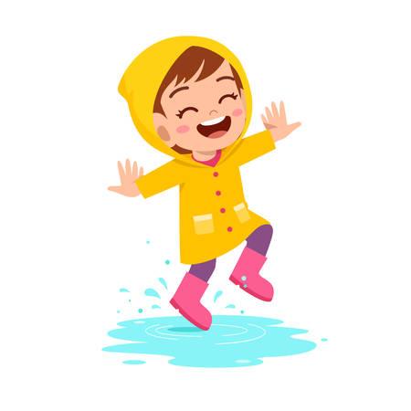 feliz, lindo, niño, niña, juego, llevar, impermeable