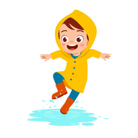 happy cute kid boy play wear raincoat