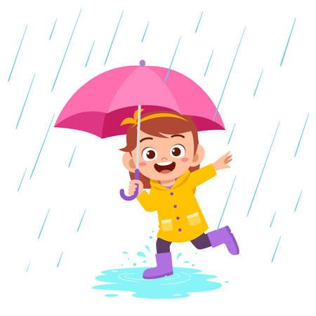 feliz, lindo, niño, niña, juego, llevar, impermeable Ilustración de vector