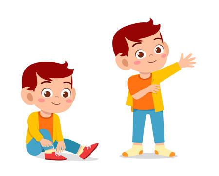 heureux garçon mignon d'enfant faire le processus d'habillage Vecteurs