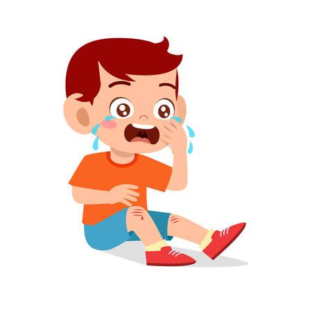 sad cry cute kid boy knee hurt bleed