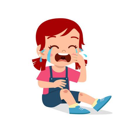 sad cry cute kid girl knee hurt bleed Vector Illustration