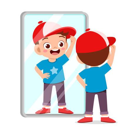 glücklicher süßer Kinderjunge benutzt morgens den Spiegel Vektorgrafik