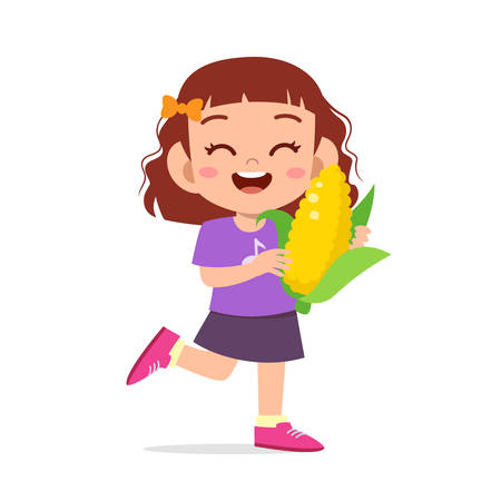 happy cute kid girl holding fresh vegetable