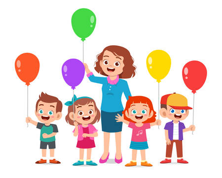 kids boy and girl holding balloon with teacher