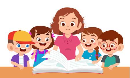 enfants garçon et fille étudient avec un enseignant