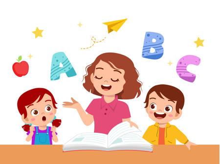 kids boy and girl study with teacher