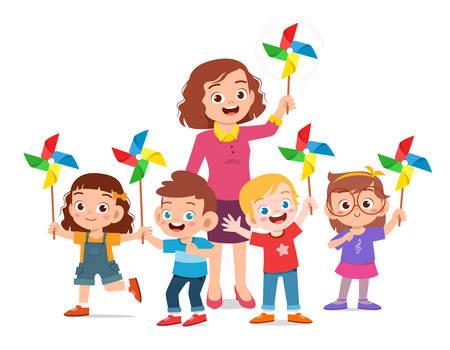 happy cute kids and teacher holding toy Ilustração