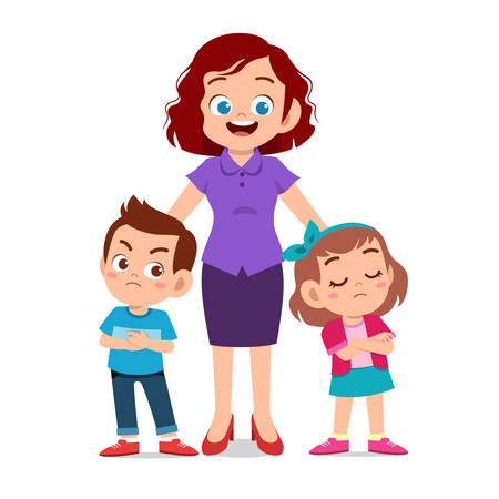 cute kids with parent design vector illustration